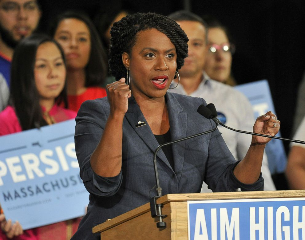 PHOTO: Congressional Democratic candidate Ayanna Pressley addresses supporters during a Democratic Party Unity Rally at the Cambridge Community Center in Cambridge, Mass., Sept. 9, 2018.