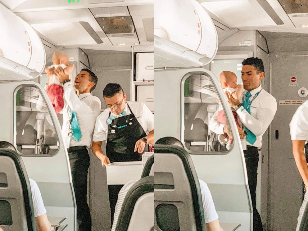 PHOTO: Frontier Airlines flight attendant Joel Paris held onto baby Adalynn for 10 to 15 minutes, calming her down during her first flight.