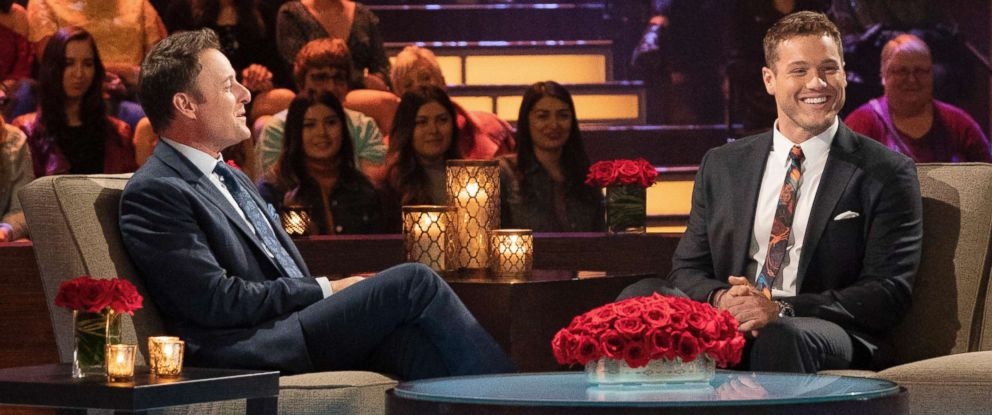 """PHOTO: Chris Harrison (left) and Colton Underwood appear on an episode of """"The Bachelor."""""""