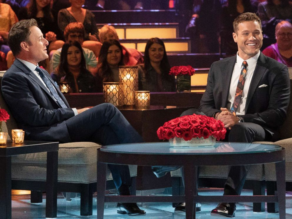 PHOTO: Chris Harrison (left) and Colton Underwood appear on an episode of The Bachelor.