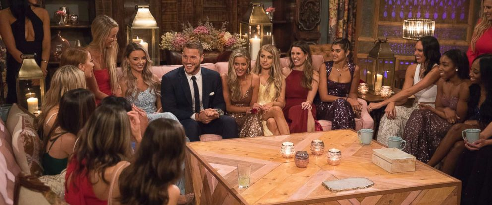 """PHOTO: Colton Underwood and the contestants gather together on """"The Bachelor,"""" on ABC, Jan. 7, 2018."""