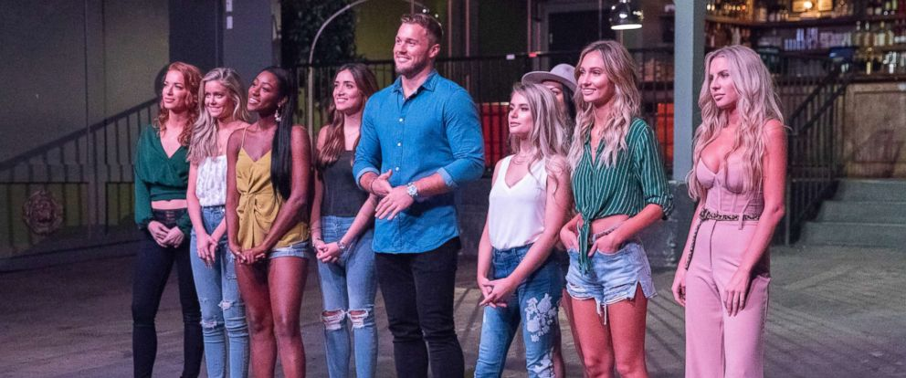 "PHOTO: Colton Underwood stands with a group of contestants on ABCs, ""The Bachelor,"" that aired on Jan. 14, 2019."
