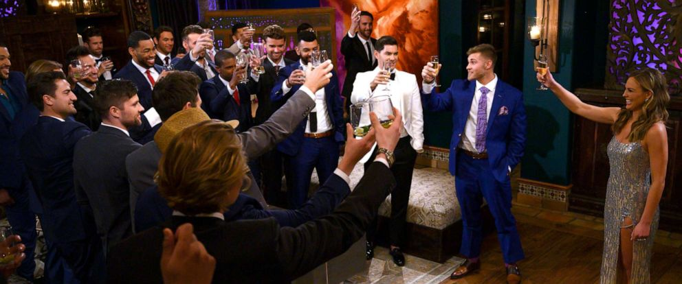 """PHOTO: THannah Brown appears with contestants on """"The Bachelorette"""" May, 13, 2019."""