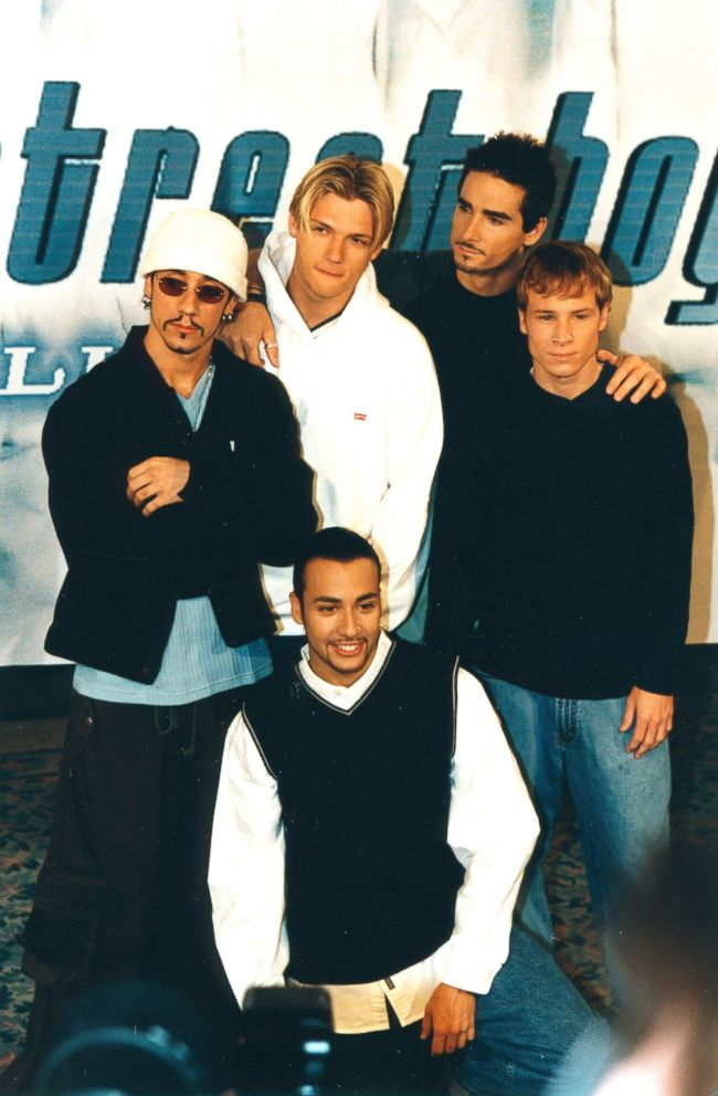The Backstreet Boys: AJ McLean, Nick Carter, Brian Litrell, Howie Dorough and  Kevin Richardson, pose for a photo op, April 13, 1999.