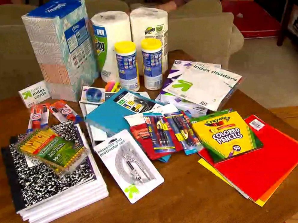 PHOTO: To find out how to get an epic deal on school supplies, the Maxwell family from San Carlos, California, split up and shopped a big box store, the dollar store, online and later compared notes on who saved the most.