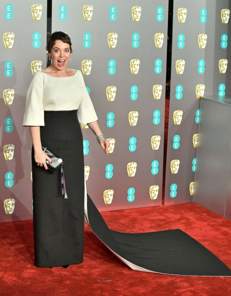 PHOTO: Olivia Colman arrives at the EE British Academy Film Awards at Royal Albert Hall, Feb. 10, 2019, in London.