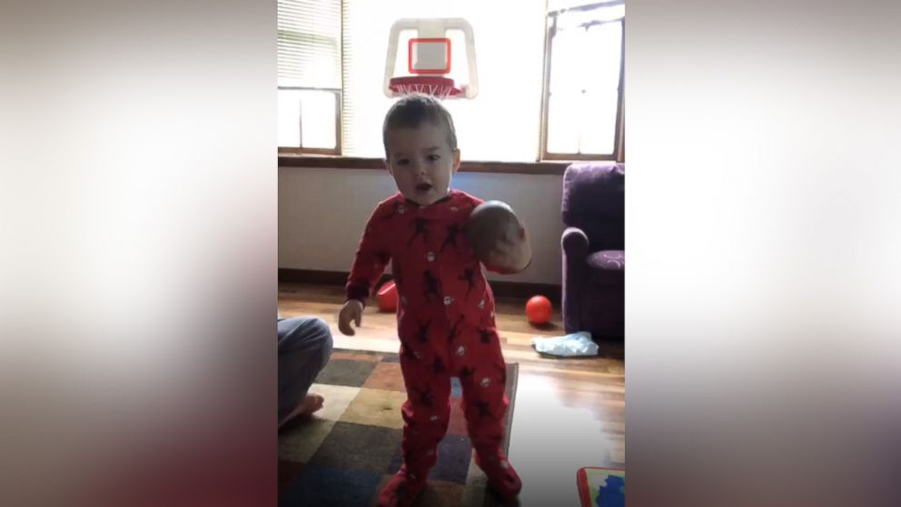 On five impressive occasions thus far, Elijah Bender, 2, has been caught on camera by his mother while shooting a basketball into a hoop without actually looking at the basket.