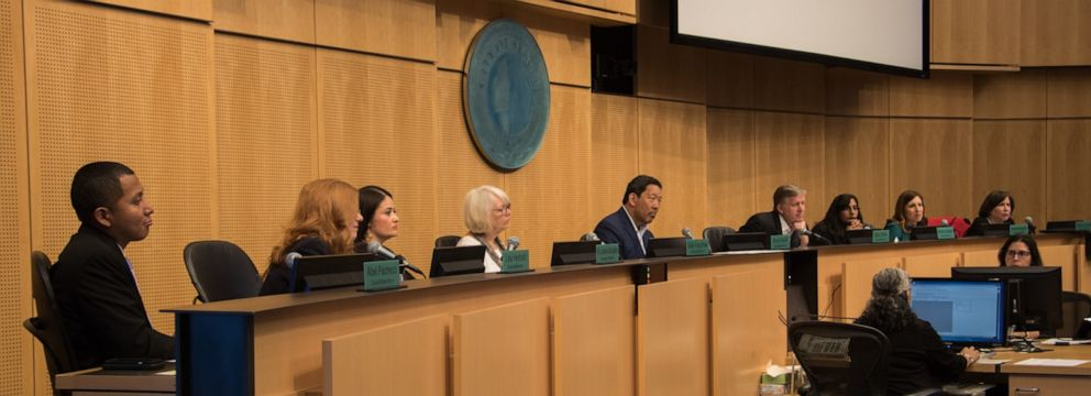 PHOTO: Members of the Seattle City Council listen during a discussion about Beas Law on June 3, 2019.