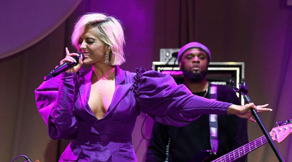 """Bebe Rexha performs onstage during the Spotify """"Best New Artist 2019"""" party, Feb. 7, 2019, in Los Angeles."""
