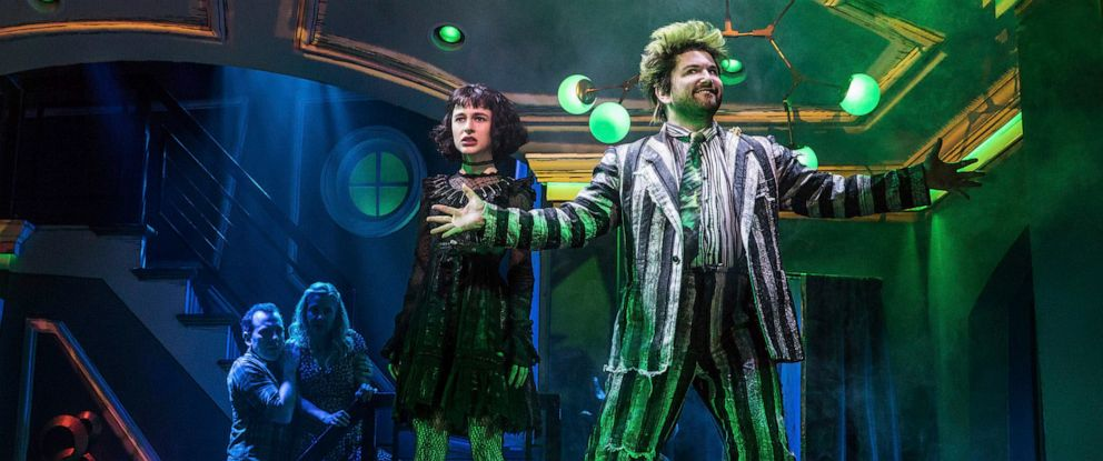 "PHOTO: This image released by Polk & Co. shows Rob McClure, from left, Kerry Butler, Sophia Anne Caruso and Alex Brightman during a performance of ""Beetlejuice,"" adapted from the Tim Burton film."