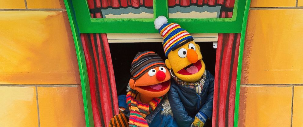PHOTO: Ernie, left, and Bert of Sesame Street attend the 88th Annual Macys Thanksgiving Day Parade on Nov. 27, 2014, in New York City.
