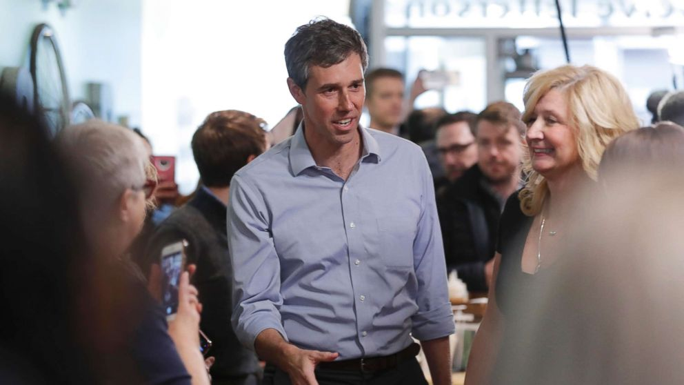Former Texas congressman Beto O'Rourke greets employees before speaking at a meet and greet at the Beancounter Coffeehouse & Drinkery, March 14, 2019, in Burlington, Iowa.