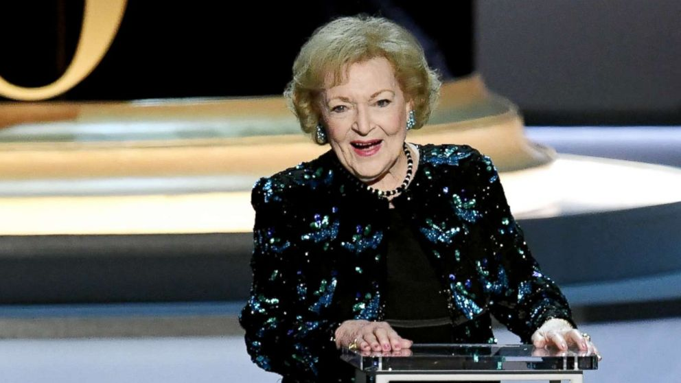 Betty White speaks during the 70th Emmy Awards on Sept. 17, 2018, in Los Angeles.