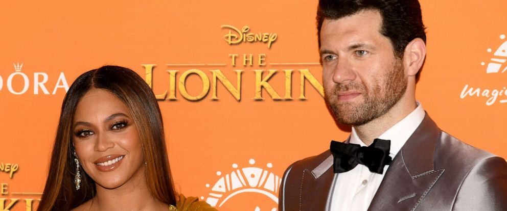 """PHOTO: Beyonce Knowles-Carter and Billy Eichner attend the European Premiere of Disneys """"The Lion King"""" at Odeon Luxe Leicester Square, July 14, 2019, in London."""