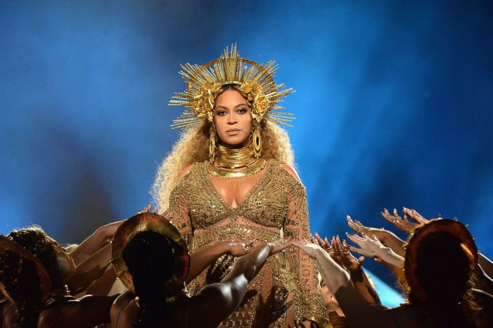 Beyonce performs onstage during The 59th GRAMMY Awards, Feb. 12, 2017 in Los Angeles.
