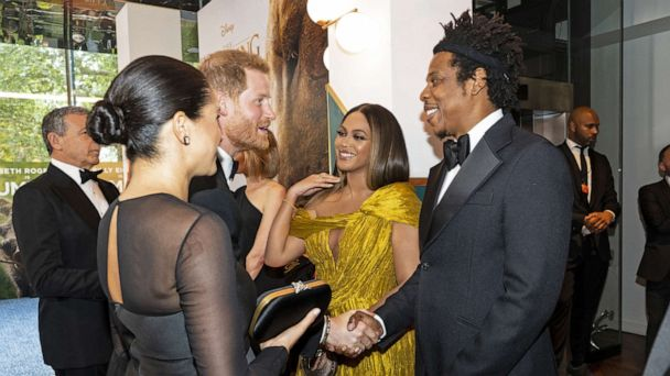 Prince Harry and Meghan meet Beyoncé and Jay-Z at 'Lion King' premiere in London