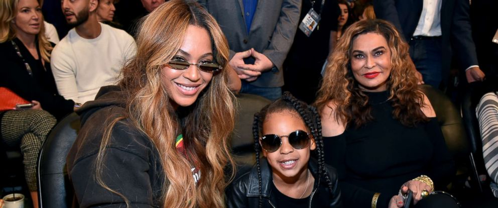 PHOTO: Beyonce, Blue Ivy Carter, and Tina Knowles attend the 67th NBA All-Star Game: Team LeBron Vs. Team Stephen at Staples Center, Feb. 18, 2018.