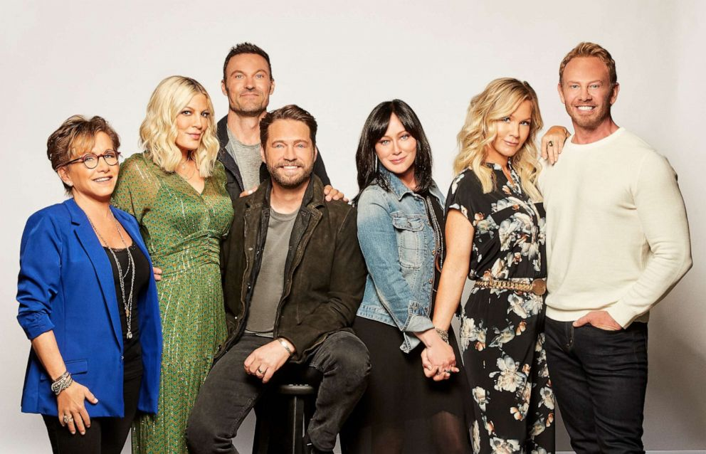 PHOTO: Gabrielle Carteris, Tori Spelling, Brian Austin Green, Jason Priestley, Shannen Doherty, Jennie Garth and Ian Ziering. BH90210, the highly anticipated new six-episode event series, will premiere, Aug. 7, 2019.
