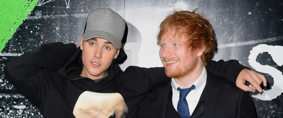 PHOTO: Justin Bieber and Ed Sheeran attend an event in London, Oct. 22, 2015.