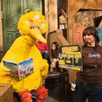 """Lynn Finkel, stage manager for """"Sesame Street"""" slates a taping with Big Bird in New York, April 10, 2008. Caroll Spinney, the puppeteer who has played Big Bird on """"Sesame Street"""" is retiring after nearly 50 years on the show."""