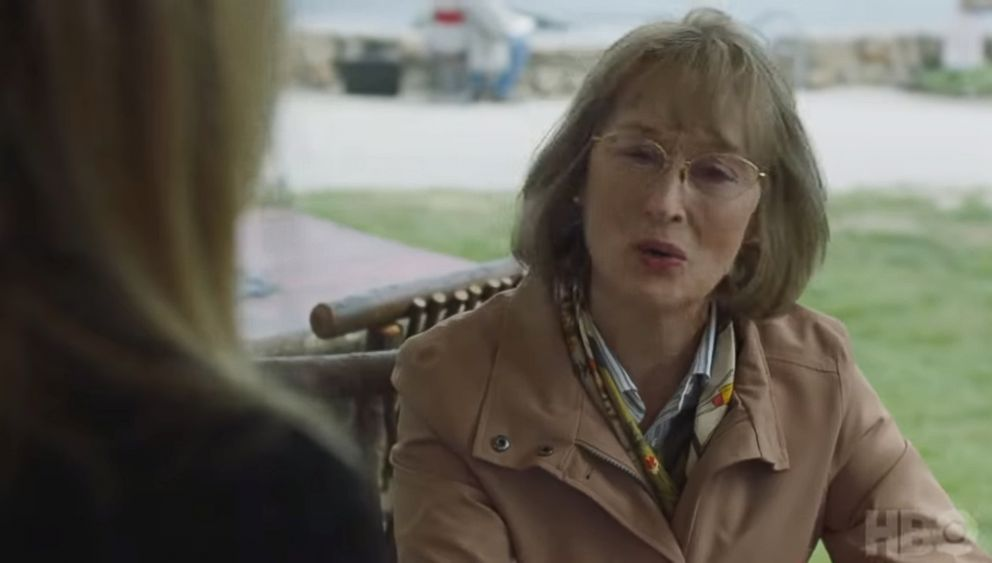 """Meryl Streep appears in an image made from a promotional clip for HBO's series, """"Big Little Lies."""""""