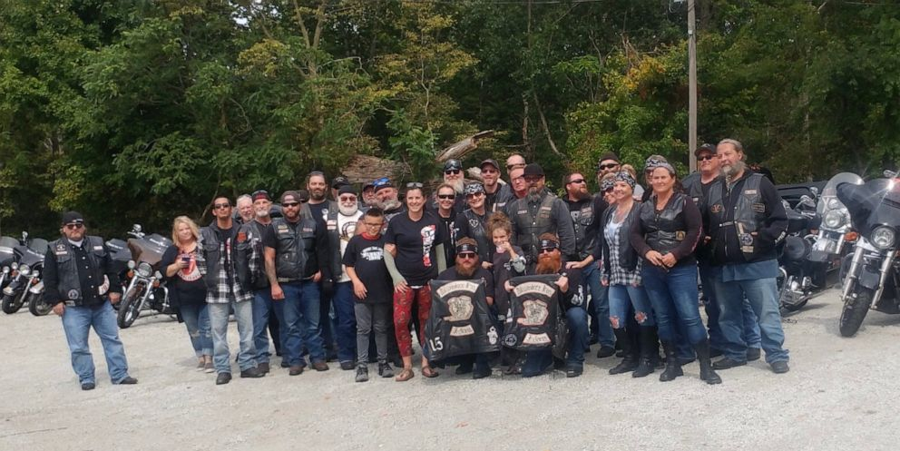 PHOTO: The Milwaukee Iron motorcycle group of Kokomo, Indiana, lined up at 8-year-old Bryannes stand after her mom Daryn Sturch, a nurse, helped them after a highway crash.