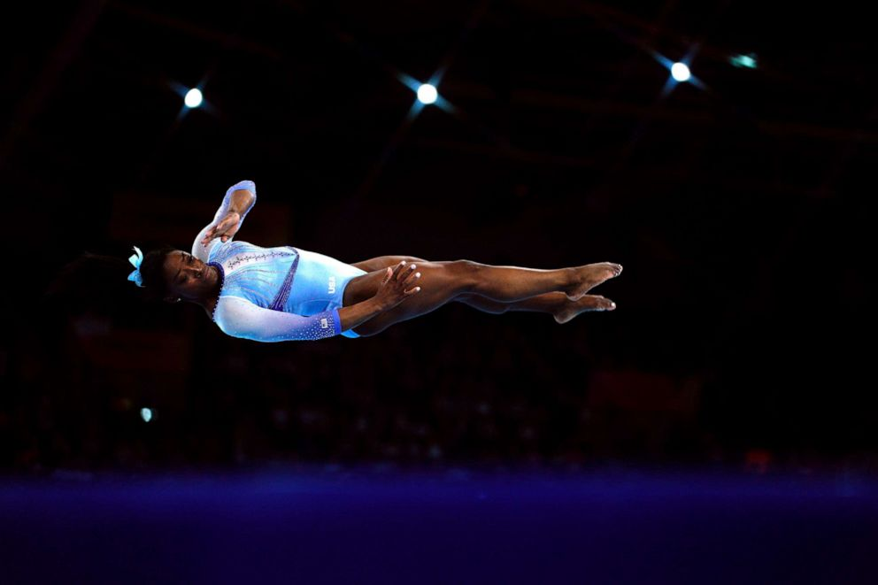 PHOTO: Simone Biles performs during the womens qualifying session at the FIG Artistic Gymnastics World Championships in Stuttgart, Germany, Oct. 5, 2019.