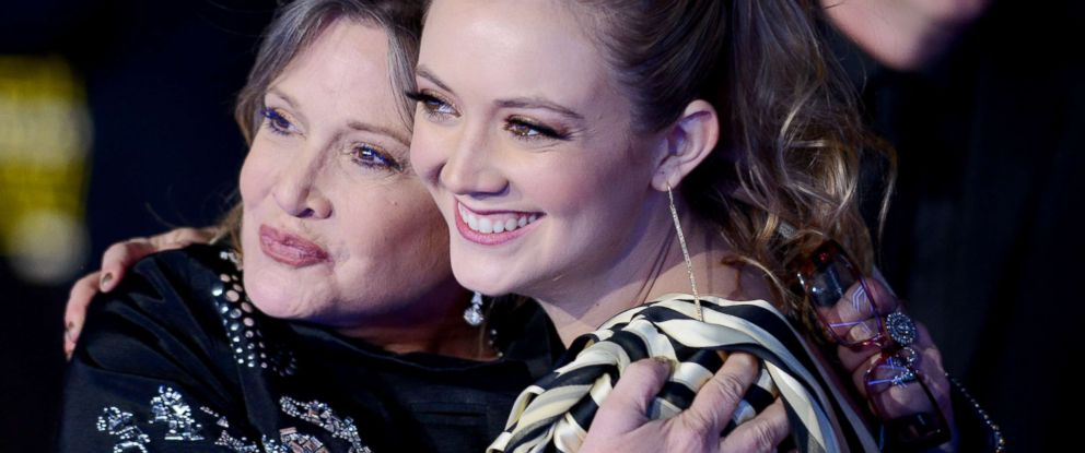 """PHOTO: Carrie Fisher and her daughter Billie Lourd arrive for the premiere of """"Star Wars: The Force Awakens"""" on Dec. 14, 2015, in Hollywood, Calif."""