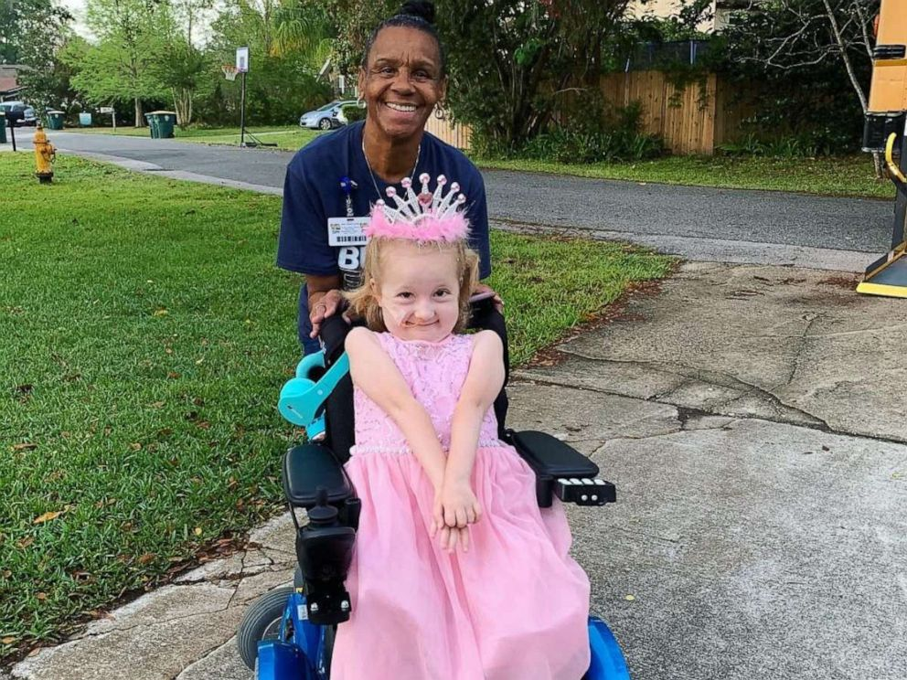 PHOTO: Arletha Sherman, 64, of Jacksonville, Fla., is pictured with pre-kindergartener Anna Hopson, 5, on April 10, 2019. Sherman decorated the school bus Anna rides for her birthday.