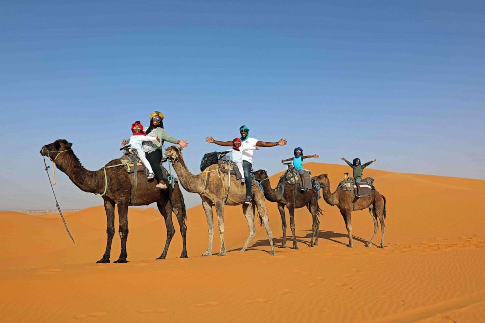 PHOTO: Karen Akpan and her family in the Sahara Desert.