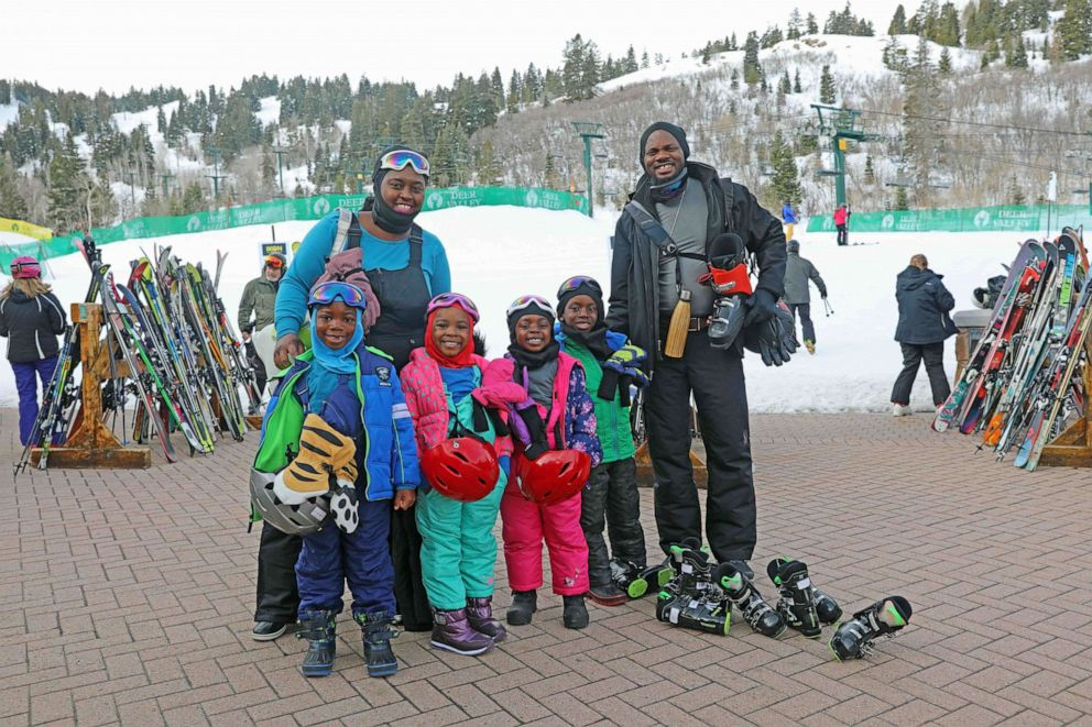 PHOTO: Karen Akpan and her family ski Deer Valley.