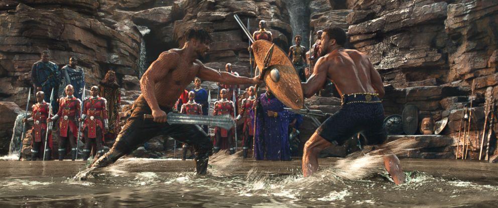 "PHOTO: Michael B. Jordan and Chadwick Boseman appear in the film, ""Black Panther,"" 2018."