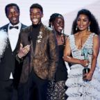 """The cast of """"Black Panther"""" accepts outstanding performance by a cast in a motion picture during the 25th annual Screen Actors'Guild awards at the Shrine Auditorium, Jan. 27, 2019, in Los Angeles."""