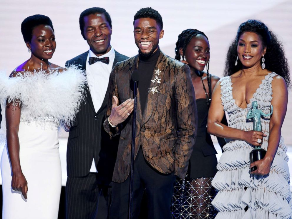PHOTO: The cast of Black Panther accepts outstanding performance by a cast in a motion picture during the 25th annual Screen ActorsGuild awards at the Shrine Auditorium, Jan. 27, 2019, in Los Angeles.