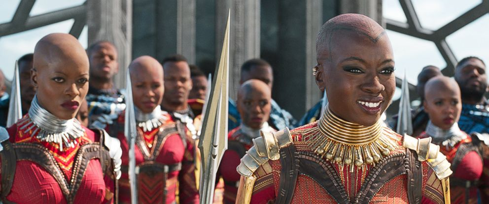 "PHOTO: Florence Kasumba and Danai Gurira in a scene from ""Black Panther,"" 2018."