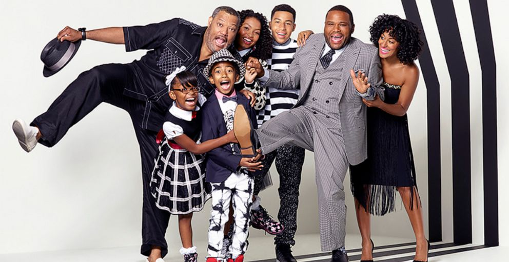 PHOTO: ABCs black-ish stars in 2015, Marsai Martin, Miles Brown, Yara Shahidi, Marcus Scribner, Anthony Anderson, Tracee Ellis Ross, and special guest star, Laurence Fishburne.