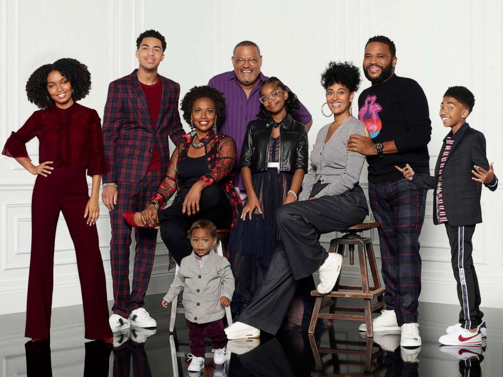 PHOTO: BLACK-ISH - ABCs black-ish stars Yara Shahidi, Marcus Scribner, Jenifer Lewis, Austin and Berlin Gross, Laurence Fishburne, Marsai Martin, Tracee Ellis Ross, Anthony Anderson, and Miles Brown.