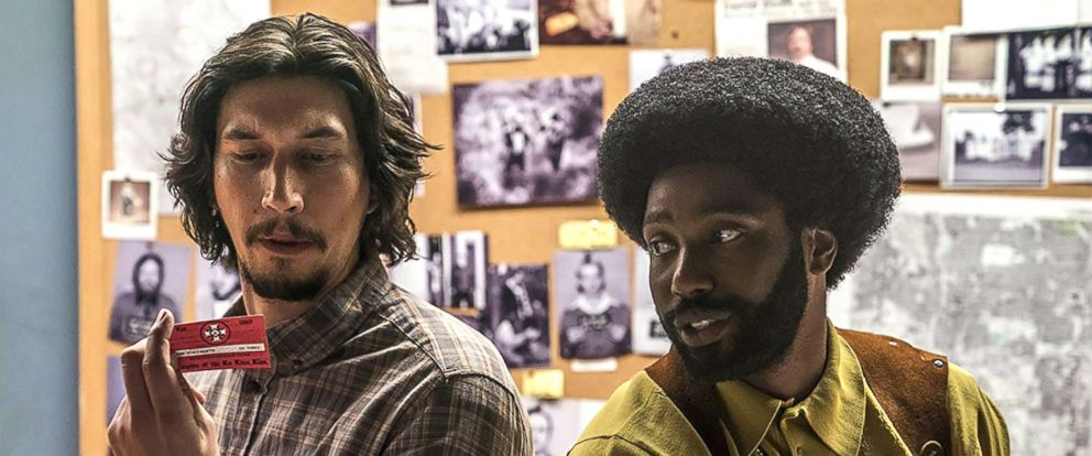 "PHOTO: John David Washington and Adam Driver in a scene from ""BlacKkKlansman."""