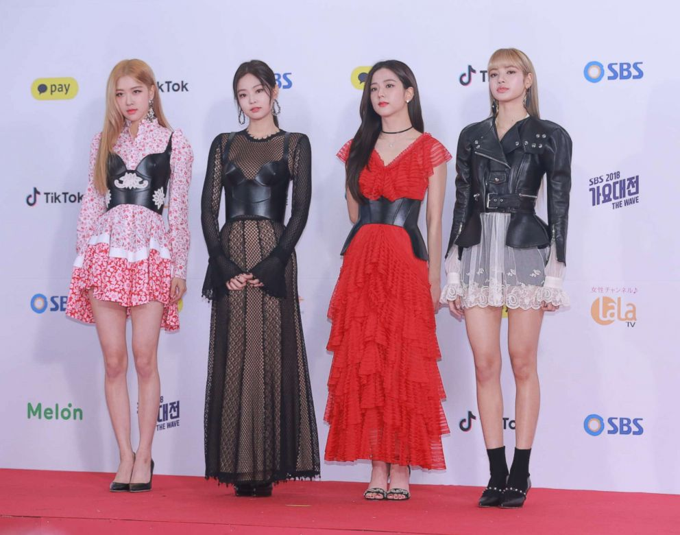 Members of South Korean girl group BlackPink attend a singing competition on Dec. 25, 2018 in Seoul, South Korea.