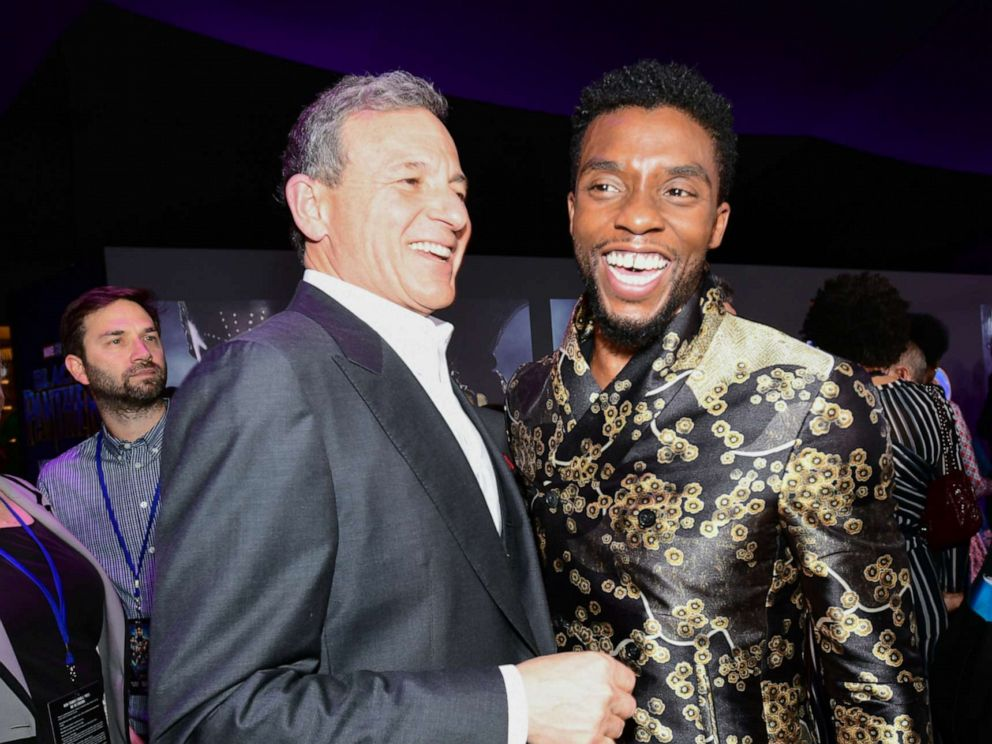 PHOTO: Chairman and CEO of the Walt Disney Company Bob Iger and actor Chadwick Boseman attend the premiere of Marvels Black Panther at Dolby Theatre on Jan. 29, 2018, in Hollywood, Calif.