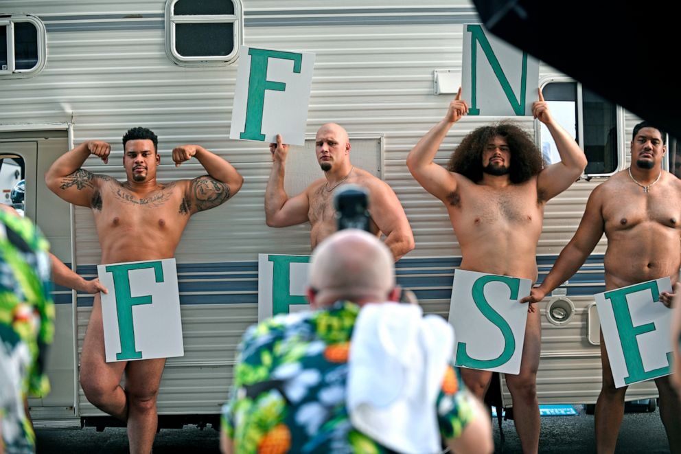 PHOTO: The 2018 Superbowl champion Philadelphia Eagles offensive linemen pose for the Body Issue of ESPN The Magazine.