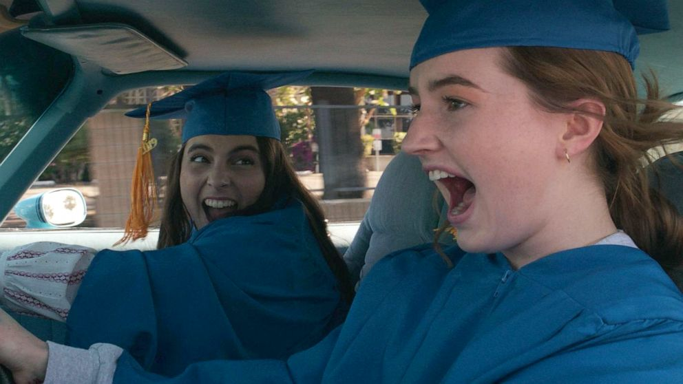PHOTO: Beanie Feldstein, left, as Molly, and Kaitlyn Dever, as Amy, in a scene from Booksmart.