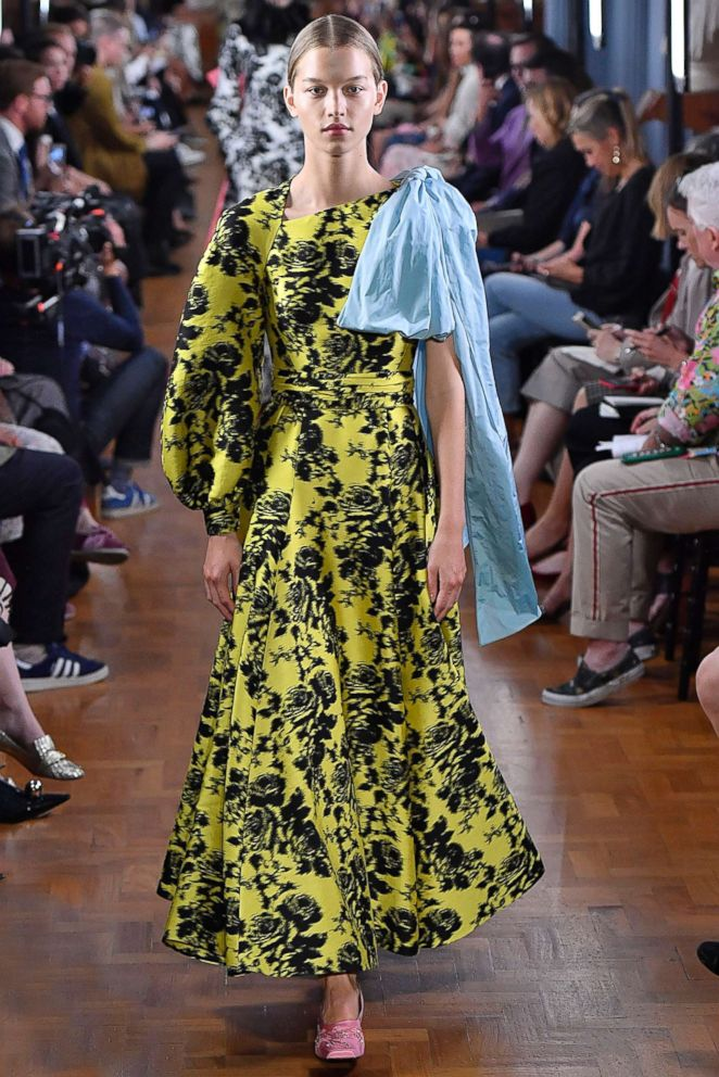 A model walks the runway at the ERDEM Ready to Wear Spring/Summer 2019 fashion show during London Fashion Week September 2018, Sept. 17, 2018, in London.
