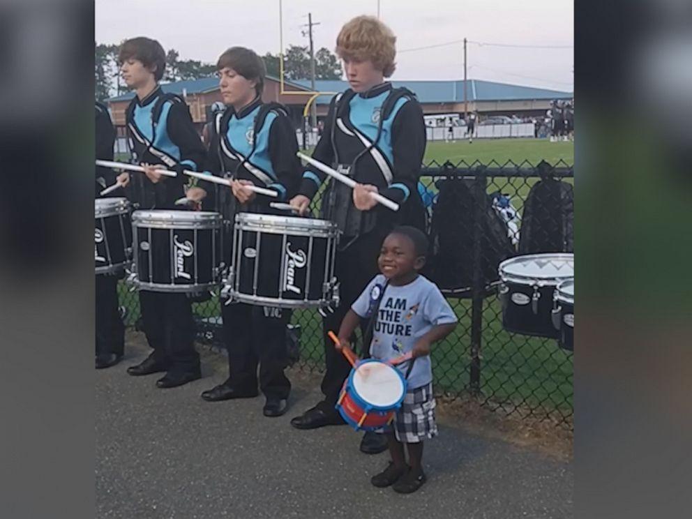 PHOTO: Mom Tabithia Wilcox filmed as Seneca Whiteheadjoined the drumline at a local high school football game in Georgia.