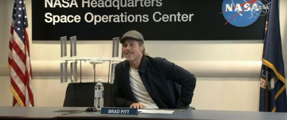 PHOTO: Brad Pitt speaks to NASA astronaut Nick Hague, speaking from the ISS.
