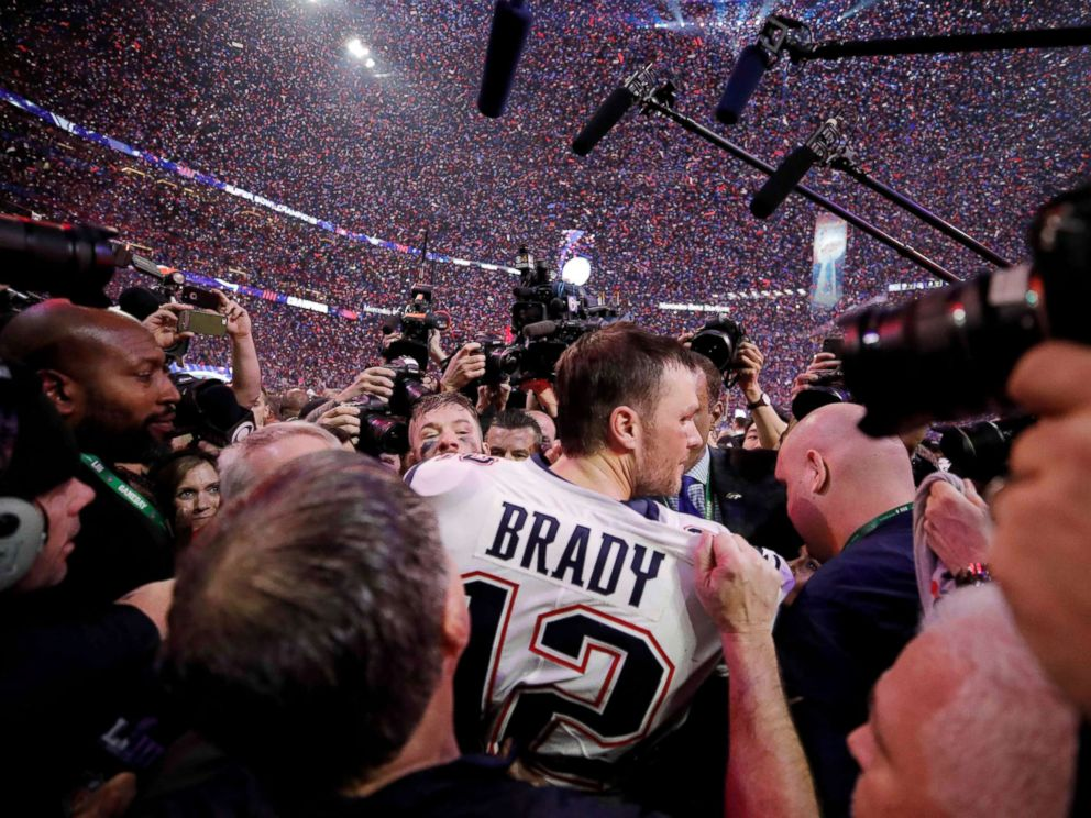PHOTO: New England Patriots Tom Brady celebrates winning the Super Bowl LIII - New England Patriots v Los Angeles Rams at the Mercedes-Benz Stadium in Atlanta, Feb. 3, 2019.