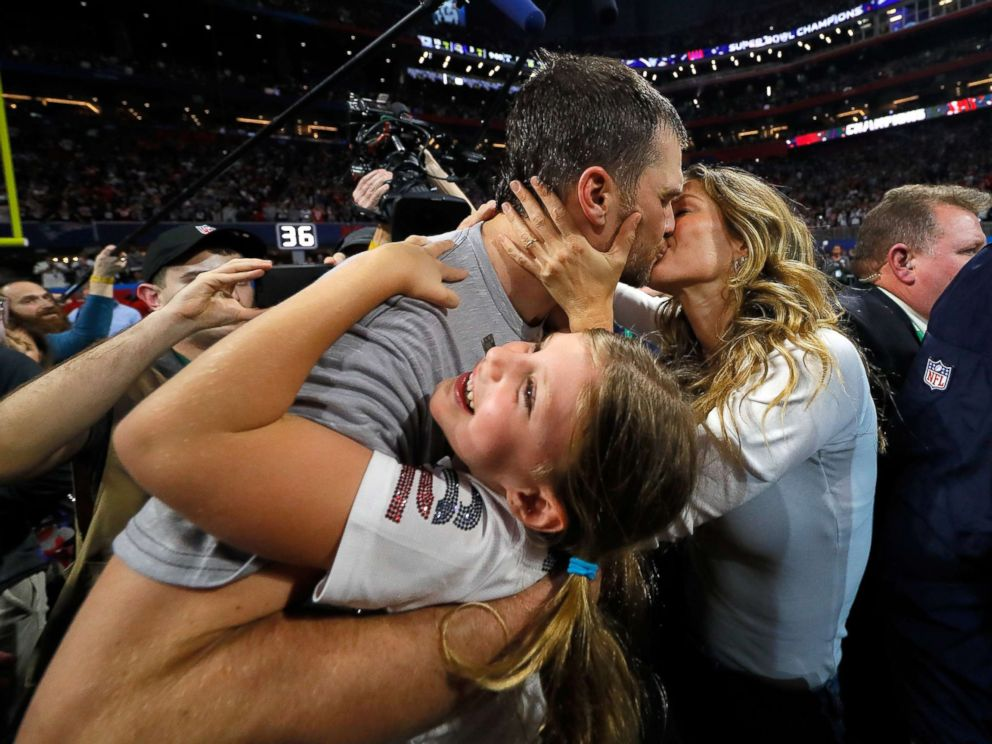 PHOTO: Tom Brady of the New England Patriots kisses his wife Gisele Bundchen after the Super Bowl LIII against the Los Angeles Rams at Mercedes-Benz Stadium on Feb. 3, 2019 in Atlanta.