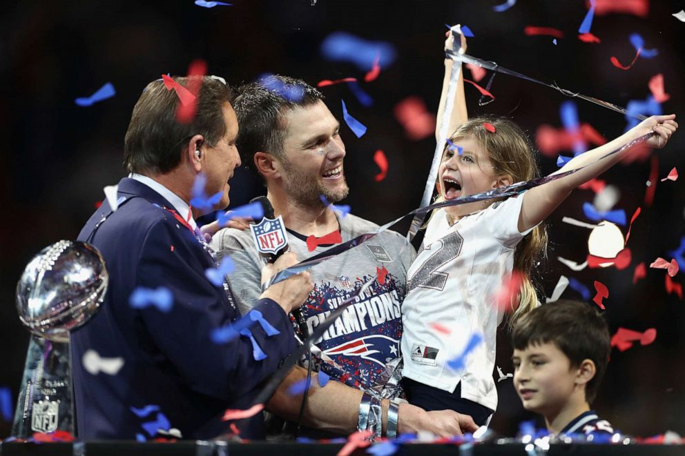 PHOTO: Vivian Lake Brady, daughter of Tom Brady celebrates the Patriots 13-3 win over the Los Angeles Rams during Super Bowl LIII at Mercedes-Benz Stadium, Feb. 3, 2019 in Atlanta.