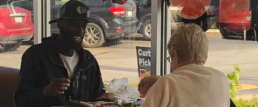 PHOTO: Two strangers were captured enjoying breakfast together after a woman asked Eric Haralson, 28, of Noblesville, Ind. if she could sit down and eat with him at a McDonalds located in Noblesville, Ind.
