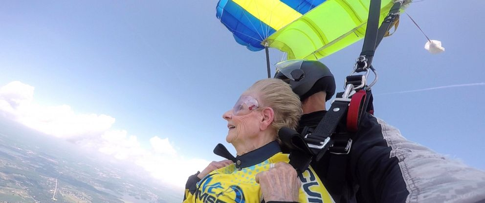 PHOTO: Brenda Sutton, 78, jumping off a plane from more than 13,000 feet in the air.